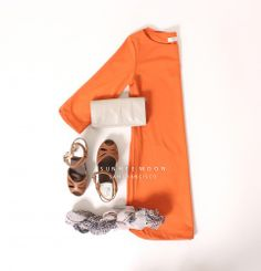 A dress that keeps up with all your summer activities! #janice #summer #dresses #orange #simple #clogs #whiteclutch #printedscarf #knitwear #sanfrancisco #locallymade #sunheemoonsf