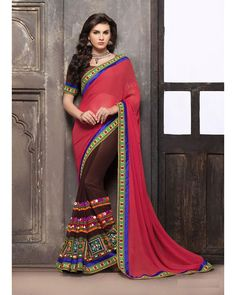 Buy Pink Anamika Georgette Designer Pallu with embroidered border at happydeal18.com, India's biggest shopping store