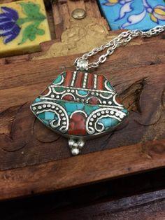 Raw stone jewellery -Tibetan jewelry - Tibetan pendant -silver artisan pendant -ethnic necklace- turquoise stone and coral mosaic shaving