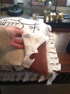 How to Make a Custom T-Shirt Pillow (No Sew) To do with an old shirt I have that has a sweet pattern.