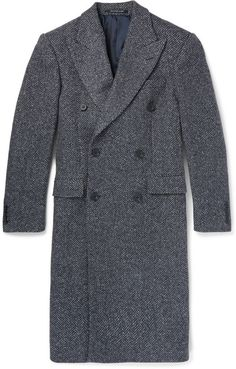 $1,445, Richard James Slim Fit Herringbone Wool Blend Overcoat. Sold by MR PORTER. Click for more info: https://lookastic.com/men/shop_items/329061/redirect