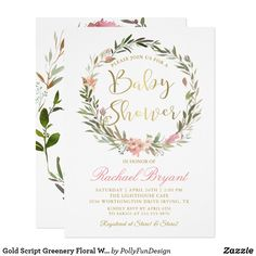 Gold Script Greenery Floral Wreath Baby Shower Card Gold Script Greenery Floral Wreath Baby Shower Invitation ❤ Fun baby shower invites - customize your invitations - Affiliate ad link. Baby Shower Thank You Cards, Baby Shower Invites For Girl, Girl Shower, Shower Baby, Bridal Shower, Sparkle Baby Shower, Floral Baby Shower, Gold Invitations, Birthday Invitations