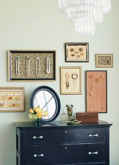Jewelry display idea...much classier than my thumbtacks ;)
