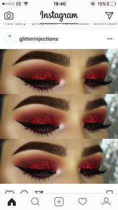 How To remove waterproof eyeliner? Make up eyes - If eyeliner and mascara are waterproof, this places special demands on your eye make-up remover. Red Eye Makeup, Skin Makeup, Beauty Makeup, Matte Makeup, Red Makeup Looks, Black And Red Makeup, Makeup Style, Burnt Orange Eye Makeup, Dark Angel Makeup