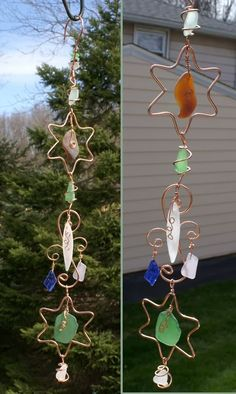 Crafts images | Crafts photos, crafts pictures  The kids could help with this, maybe a wind chime like this for their nana?