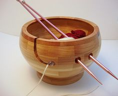 This one is pretty too: Wooden Knitting Bowl, Lathe Turned, Segmented $55