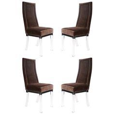 Charles Hollis Jones Velvet and Lucite Dining Chairs | Available at www.fullcirclemodern.com