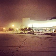 A snowy Friday night in Bloomington. Assembly Hall.