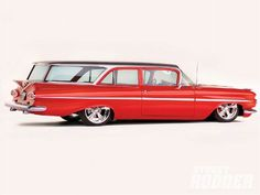 0812sr 07 Z+1959 Chevy Impala Biscayne Brookwood Wagon+wagon Passenger Side