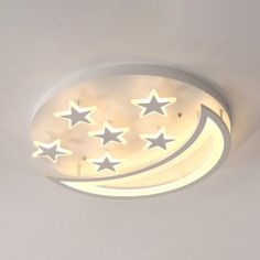 Moon and Star LED Ceiling Light Modern Kids Room Acrylic Flush Mount Light in Wh. Moon and Star LED Ceiling Light Modern Kids Room Acrylic Flush Mount Light in White/Warm Light, Star Lights On Ceiling, Led Ceiling, Ceiling Stars, Kids Room Lighting, Room Lights, Ceiling Design Living Room, Kids Room Paint, Light In, Led Diy