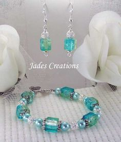 Beaded Earrings | ... Beaded Jewelry Bracelet Set by Jades Creations Handcrafted Beaded