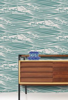 Wallpaper Whitby - Lido by Mini Moderns — BODIE and FOU - Award-winning inspiring concept store Eclectic Wallpaper, Nautical Wallpaper, Kids Room Wallpaper, Contemporary Wallpaper, Of Wallpaper, Seaside Wallpaper, Amazing Wallpaper, Bathroom Wallpaper, Closet Wallpaper