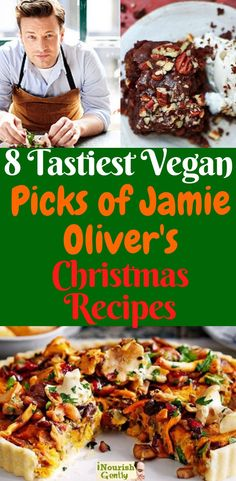 The 8 Tastiest Picks Of Jamie Oliver's Vegan Christmas Recipes Meat Eating Guests Will NOT Resist is part of Vegan christmas recipes - An epic vegan nut roast, luxurious vegan treats and indulgent desserts this is a fine selection full of festive flavors! Vegetarian Christmas Recipes, Vegan Christmas Dinner, Vegetarian Recipes, Healthy Recipes, Christmas Parties, Christmas Treats, Vegan Holiday Recipe, Holiday Recipes, Christmas Time