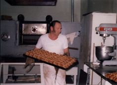 Ray Adamson of Adamson's Cake Kitchen (Invercargill NZ), taking hot cross buns out of the oven, Hot Cross Buns, The Old Days, Family History, Burns, Oven, Old Things, Father, Cake, Check