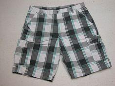 Mens Wrangler  Cargo Shorts Gray Plaid sz 38 100% Cotton ( Measure 38X10 )…