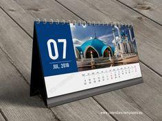 Horizontal tent desk / table / desktop calendars templates for 2018 Year. Printable photo calendars in popular PDF format.