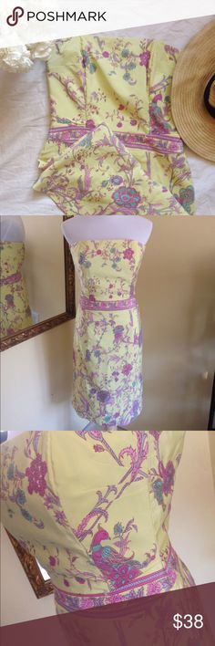 Plenty by Tracy Reese Silk Bird Floral Dress Perfect for Easter! This silk and cotton blend strapless has a built in ribbon belt at waist to help hold everything in place. No tugging at your tops Beautiful spring look. 💕Worn once, still has dry cleaning tag. Plenty by Tracy Reese Dresses Strapless
