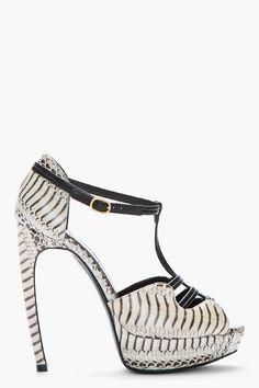 ALEXANDER MCQUEEN Beige leather Tiger Snake Print t-strap Heels