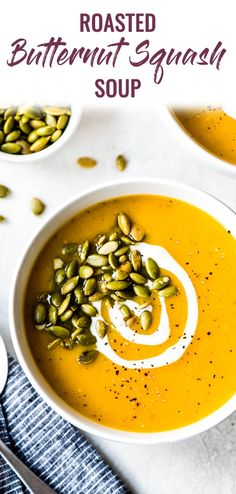 This Roasted Butternut Squash Soup recipe is healthy, easy to make and perfect for the cold-weather season! (vegetarian, paleo, vegan) via Vegetarian Paleo, Vegan Soup, Paleo Diet, Soup Recipes, Healthy Recipes, Easy Recipes, Healthy Soups, Keto Recipes, Roasted Butternut Squash Soup