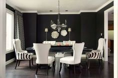"Benjamin Moore ""black jack."" Wow...stunning walls with the cream furniture."