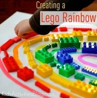 Over the rainbow LEGO. Create a Lego rainbow. Great way to practice sorting and teach about colors. What other ways do you learn with Legos? Rainbow Activities, Lego Activities, Color Activities, Preschool Activities, Rainbow Crafts, Lego Games, Weather Activities, Kindergarten Science, Preschool Colors