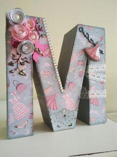 Cute Letters, Flower Letters, Wood Letters, Monogram Letters, Wooden Letter Crafts, Alphabet Crafts, Alphabet Letters, M Letter Design, Girl Birthday Decorations