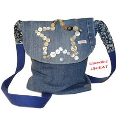 Schultertaschen - Upcycling Jeanstasche Schultertasche Unikat NEU - ein Designerstück von truevintageandchic bei DaWanda