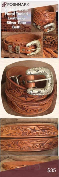 "VTG Boho Floral Tooled Leather & Silver Tone Belt! Vintage Boho Floral Tooled Leather & Silver Tone Belt! Measures 1 1/8"" wide & is size 34 which fits 30""-34"" waist/hips. Some wear on silver tone hardware. VG condition. Vintage Accessories Belts"
