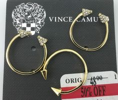 Vince Camuto Gold Tone Triangle Stud Tip Open Stack Ring 3 Set Size 8 #VinceCamuto #Cocktail