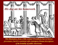 A well educated Roman male would be expected to be trained in rhetoric, the highly stylized act of public speaking.  Teachers of rhetoric were known as rhetors, and they would take over male education after the basics (yes, the three Rs) were taught in private schools or by private tutors and gramatici.  All the best families employed tutors and gramatici, who often were skilled and well educated foreigners.  Thttp://www.bing.com/images/search?q=Ancient Roman Education