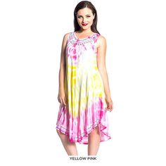 Tie-Dye Print Hand Embroidered Summer Dress - Assorted Colors at 67% Savings off Retail!