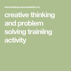 creative thinking and problem solving trainiing activity