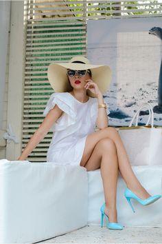 white Front Row Shop dress - cream H&M hat - white John Richmond sunglasses