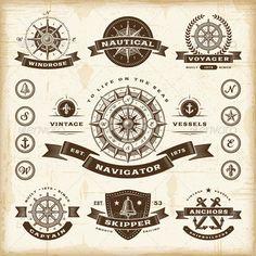 Vintage Nautical Labels Set - Decorative Symbols Decorative