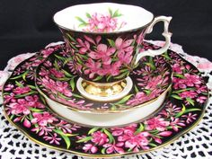 Royal Albert Provincial Flowers Fireweed Chintz Tea Trio - Pink Flowers on black background teacup, saucers, and plate