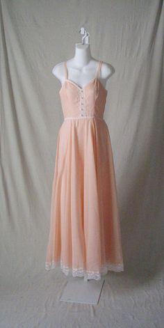 Gunne Sax Dress Peach Southern Belle Dress 1970s