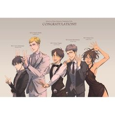 Haha congrats on getting first, Levi! Love you! *smiles brightly* But, why am I five, guys?.. Anyway, I'm proud of you, Jean and Eren! *hugs jean and Eren, ignores Erwin is there, then smiles and wraps arms around Levi's neck* You did amazing!