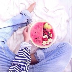 Personal Watermelon Fruit Bowl Image credit unknown. #Watermelon_Fruit_Bowl #Healthy