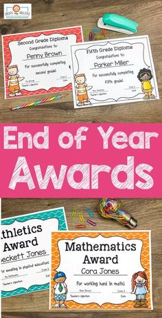 EDITABLE End of Year Awards - This set includes 202 pages of award certificates, teacher nomination forms, student nomination forms, note home to parents, and diplomas. I have also added blank award templates for you to add in your own award titles. Great for preschool, Kindergarten, 1st, 2nd, 3rd, 4th, and 5th grade. Click through to see each award now! (Color and b&w options available) #EndOfYearAwards #EndOfYear #EndOfTheYear Preschool Plans, Preschool Kindergarten, 5th Grade Classroom, Classroom Ideas, Award Template, Award Certificates, End Of Year, Fifth Grade, Teaching Tools