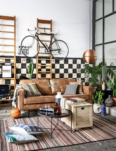 Tan leather couch envy | copper pendant light