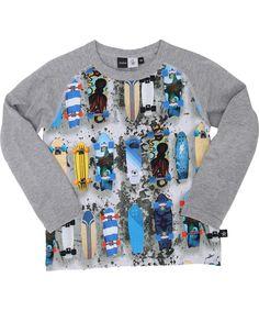 Molo T-shirt met skateboardprint en grijze lange mouw. molo.nl.emilea.be
