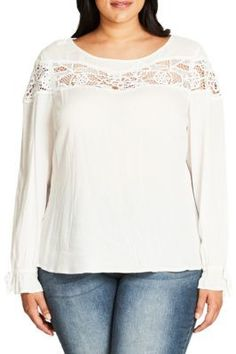 City Chic Plus Beachy Baby Crochet Accented Top