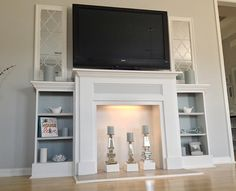 Faux Fireplace Ideas and Projects • Lots of Ideas and Tutorials! Including, from 'ana white', this wonderful faux fireplace / entertainment center created for less than $200.                                                                                                                                                                                 More