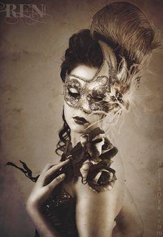 Beautiful Woman Wearing Venetian Carnival Mask by Ren (photo), via Flickr