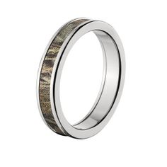 Licensed Realtree Max 4 Camo Rings, Premium High Polish Finish Camo Bands, Cobalt Camo Rings