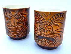 Vintage Tiki Mugs Glasses Retro Barware Sake Cups by YatsDomino, $40.00