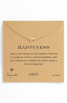 "Happiness: ""Make a wish and put on your necklace, believing in yourself can unlock a world of possibilities, wear your necklace as a reminder that positive energy is the KEY to happiness!"""