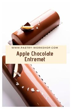 Apple Chocolate Entremet with buttery apples, dark rhum chocolate ganache, chocolate mousse and pain de genes. Delicious and packed with flavors! Mini Desserts, Single Serve Desserts, No Bake Desserts, French Desserts, Plated Desserts, Chocolate Gifts, Chocolate Ganache, Chocolate Desserts, Pastry Recipes
