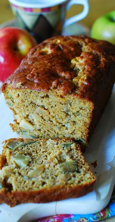 Low-fat PUMPKIN banana bread stuffed with apple chunks, flavored with cinnamon and vanilla, and baked to perfection, with a gorgeous top crust!  Low fat, only 4 tablespoons of butter used for a whole loaf! | JuliasAlbum.com | #breakfast