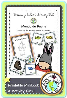 Arturo y la bota Colors Printable Spanish Minibook and Activity Pack.. perfect for teaching colors in Spanish! Features a minibook + story cards to retell and expand the story, teaching 11 color words in the process. Mundo de Pepita, Resources for Teaching Spanish to Children